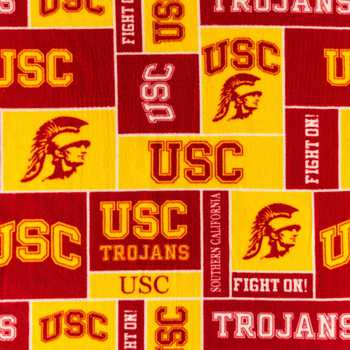 USC Block Collegiate Fleece Fabric
